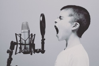 boy with microphone
