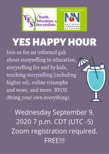 Flyer for YES Happy Hour, Wednesday September 9 2020 7 pm